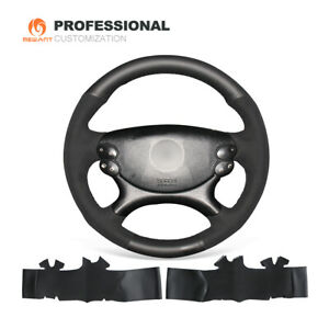 Black Leather Suede Steering Wheel Cover for Benz E63 AMG 2006-2008 CLS 63 AMG