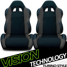 TS Sport Blk/Gray Cloth Fabric Reclinable Racing Bucket Seats w/Sliders Pair V17