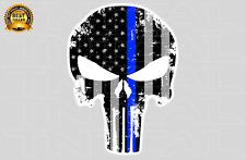Thin Blue Line Punisher Skull American Flag Decal - Car Truck Window Sticker
