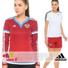 ADIDAS WOMENS FOOTBAL RUSSIA JERSEY + SHORTS SOCCER SPORT SUIT S12602 RFU SIZE S
