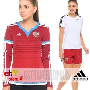 ADIDAS WOMENS FOOTBAL RUSSIA JERSEY + SHORTS SOCCER SPORT SUIT S12602 RFU SIZE S