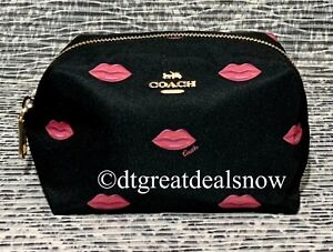 NEW COACH SMALL BOXY COSMETIC CASE LIPS PRINT BLACK & PINK  C2929