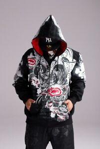 Men's ECKO Unltd Hip Hop Cotton Lining Warm Zip Hoodie Graffiti Print Pullover