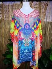 Loose Sheer Embellished Kaftan Colorful Peacock Print Size 14-16-18-20 one size