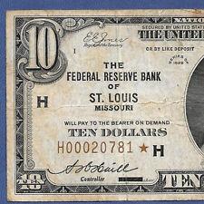 "1929 $10  FRBN  ""ST.LOUIS""   ♚♚ STAR ♚♚  ♚♚ STAR ♚♚"
