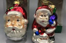 Blown Glass Santa Christmas Ornament Lot of 2 Regent Products Collectible