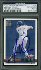 Blue Jays Vernon Wells Signed Card 2000 Pacific Paramount Rc #250 PSA Slabbed