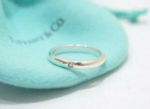 "Tiffany & Co. Sterling Silver Elsa Peretti 1P Diamond Stacking Ring Size 8"""