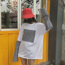 Women Black White Checkerboard Patchwork T-shirt Long Sleeve Fashion Pullover
