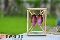 Handmade lightweight burgundy gold real leather earrings, teardrop earrings