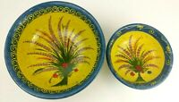 Provence France Hand Painted Art Pottery Nesting Bowl 2 piece SET Lavender KEIL