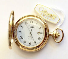 Colibri Gold Tone Swiss Quartz 12-hour Dial, Date, Full Hunter, Pocket Watch NEW