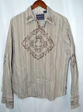 English Laundry Button Front Shirt Brown Striped Floral Embroidered Size XL