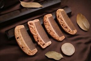 Chinese Natural Peach Wood Carved Comb Craft Hollow Orchid Cherry Magpie Fish