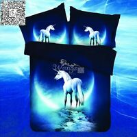 Blue Unicorn Duvet Cover With Pillow Cases All Sizes Quilt Cover Bedding Set New