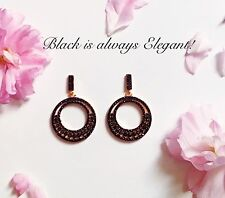 925 Sterling Silver with Black Cubic Zirconia Drop Dangle Earrings Rose Gold