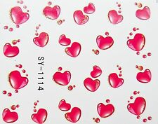 """Valentines Shimmer Gold 3D Nail Art Sticker """"Red LOVE Hearts"""" Water Decals 1114"""