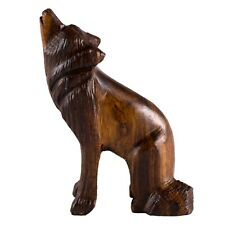 "Unique Hand Carved Wood Ironwood Sitting Wolf Howling Figurine 3"" High"