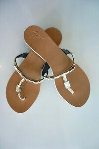 Giuseppe Zanotti Gold Leather Crystal Flat Slide Sandals Thong Shoes Size 39