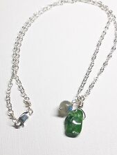 Raw Chrome Diopside Labradorite Handmade Sterling Silver Rough Gemstone Necklace