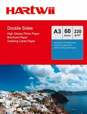 A3 Double Sides Glossy Photo Paper 220Gsm Inkjet Paper Prinit - 60 Sheets Hartwi