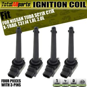 4x Ignition Coils Pack for Nissan Tiida 2007-2013 MR18DE X-Trail 08-10 MR20DE