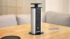 MPS V1 Black Pop Up Power Point Socket w USB Charger, for Home Office Kitchen