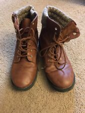 Steve Madden Womens Size 5 Ankle Boots Zip Side Brown