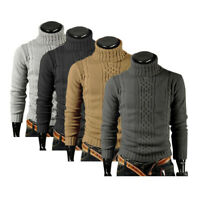 Men Turtleneck Sweater Leisure Knitted Top Pullover Cardigan Slim Knitwear M-3XL