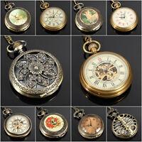 Vintage Antique Bronze Mechanical Quartz Pocket Watch Necklace Chain Steampunk
