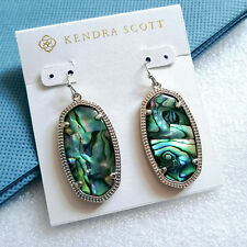 NEW Kendra Scott Elle Silver Drop Earrings In Abalone Shell