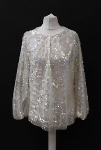 ZARA Ladies Silver White Round Neck Long Sleeve Sequined Top Size XS BNWT