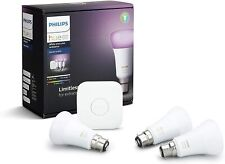 NEW Philips Hue White and Colour Ambiance Starter Kit - B22 Smart Bulbs - 3 Pack