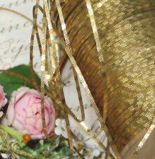 1y ANTQ FRENCH OLD GOLD METAL THREAD BULLION TRIM RIBBON VESTMENT DOLL DRESS