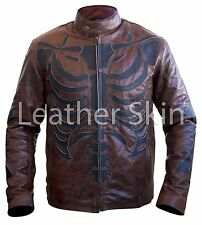 Men Two Tone Distressed Brown Black Skeleton Biker Motorcycle Leather Jacket