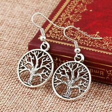 Women Vintage Hollow Round Tree Of Life  Earrings Peace Celtic Dangle Ear Hooks