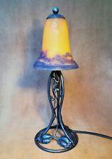 MULLER : Lampe art déco fer forgé grande tulipe signé pâte de verre 1930 ancien