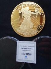 "1933 St Gaudens American Jumbo Gold Dream 3.9"" Dia Cu Layer 24K Gold PAPERWEIGHT"