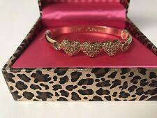 NWT Betsey Johnson 3 Gold tone hearts pave stones jeweled jewel bangle bracelet