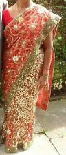 red lengha choli - ready pleated easywear wraparound saree sari - size 14/16