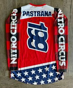 Travis Pastrana Autographed Canvas Red-White-Blue Nitro Circus Jersey