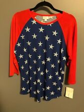 BNWT LuLaRoe Vintage Americana L Randy Red & Blue with Stars *UNICORN*