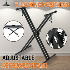 New Adjustable Music Double Braced Keyboard Stand X Frame Stool Steel Foldable