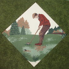 9  Lovely Quilt Top Blocks Vintage Golf Golfer  Sewn in Green Tones