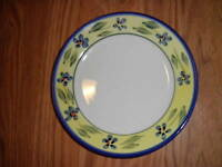 "totally today yellow w blue salad plate lovely vgc 7"" set of 2"