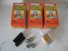 """Fram G3 G-3 3/8"""" Inline Plastic Gas/Fuel Filter LOT(3 THREE) w/ Hoses & Clamps"""