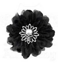 New Alchemy Gothic Black Dahlia Flower Pewter Skull Hair Clip HC7