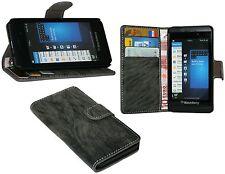 Book-Style Handyhülle Case Cover für BlackBerry Z10 + Displayfolie // Anthrazit