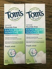 Tom's of Maine Rapid Relief Sensitive Natural Toothpaste Fresh Mint 2 pack NEW
