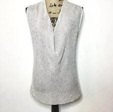 Eileen Fisher Knit Top M Gray Silver Sequin Embellished Drape Blouse